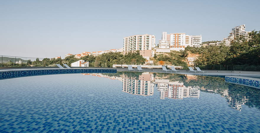 Apartments in Montenegro in a gated new complex with a swimming pool