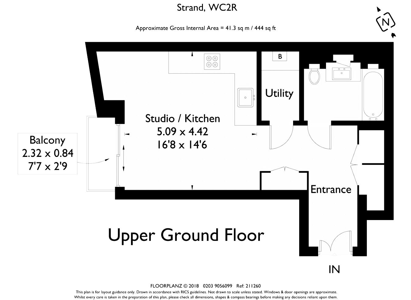 Studio apartment for sale in London